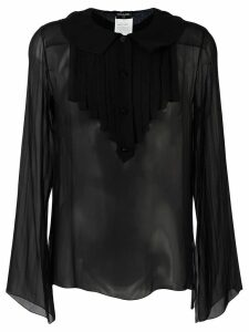 Chanel Pre-Owned ruffled bib shirt - Black