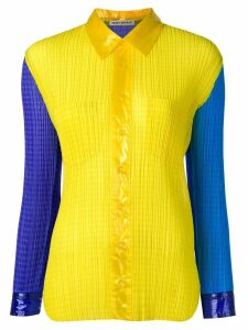Issey Miyake Pre-Owned colour block pleated shirt - Yellow