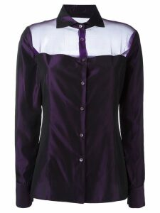 Romeo Gigli Pre-Owned sheer panel shirt - PURPLE