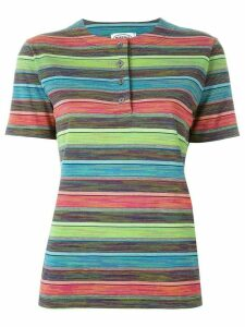 Missoni Pre-Owned striped henley T-shirt - Blue