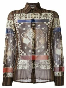 Jean Paul Gaultier Pre-Owned world print shirt - Brown