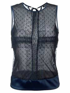 Chanel Pre-Owned netted sheer top - Blue