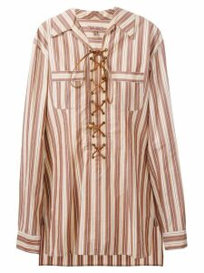 Romeo Gigli Pre-Owned lace-up striped tunic shirt - NEUTRALS