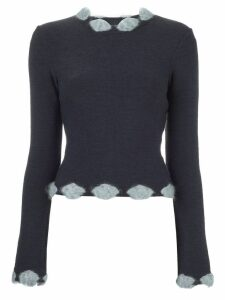 Christian Dior Pre-Owned embellished trim jumper - Grey