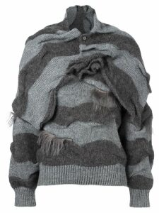 Issey Miyake Pre-Owned two piece striped jumper - Grey
