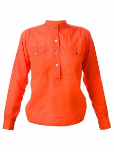 Yves Saint Laurent Pre-Owned mandarin neck shirt - ORANGE