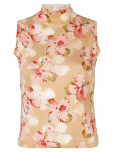 Christian Dior Pre-Owned floral turtleneck vest - Yellow