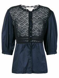 Christian Dior pre-owned lace insert blouse - Blue