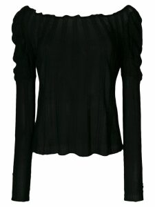 Giorgio Armani Pre-Owned ribbed sheer blouse - Black