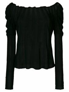 Giorgio Armani Pre-Owned ribbed sheer blouse - Black