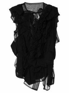 Comme Des Garçons Pre-Owned ruffle sheer blouse - Black