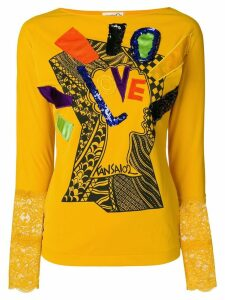 Kansai Yamamoto Pre-Owned long sleeve T-shirt with appliqué - Yellow