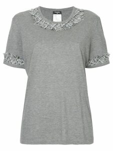 Chanel Pre-Owned tweed-trim short-sleeve T-shirt - Grey