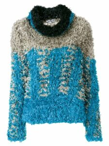 Issey Miyake Pre-Owned roll neck fluffy sweater - Blue