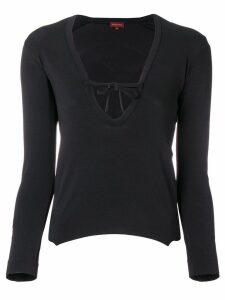 Romeo Gigli Pre-Owned tied v-neck blouse - Black