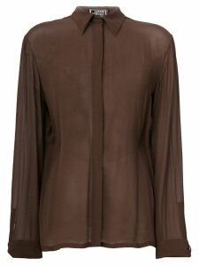 Versace Pre-Owned concealed fastening sheer shirt - Brown