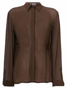 Versace Pre-Owned concealed fastening sheer shirt - Brown