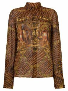 Jean Paul Gaultier Pre-Owned printed sheer shirt - Yellow