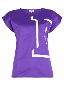 Gianfranco Ferré Pre-Owned 'E' embroidered t-shirt - PURPLE