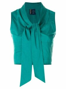 Romeo Gigli Pre-Owned tie-front sleeveless shirt - Green