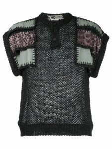 Kansai Yamamoto Pre-Owned knit patches top - Black