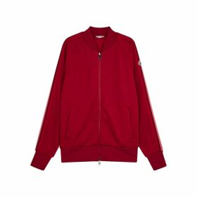 Moncler Dark Red Striped Jersey Sweatshirt