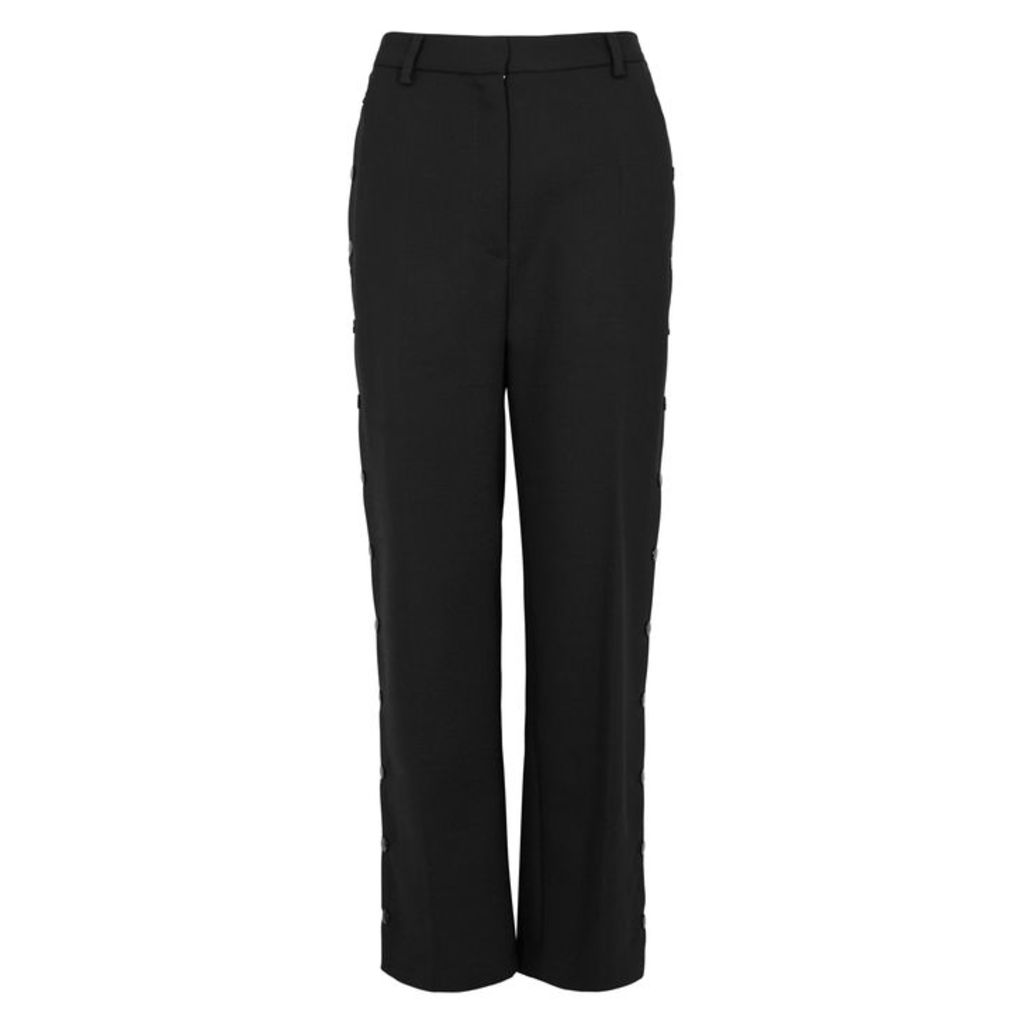 MM6 By Maison Margiela Black High-waisted Wide-leg Trousers