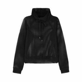 Koral Activewear Pump Black Cropped Mesh Sweatshirt