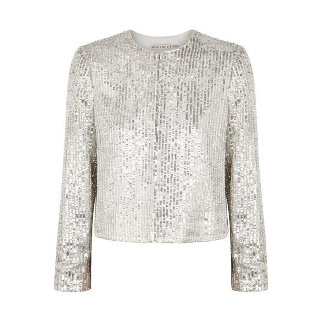 Alice + Olivia Kidman Silver Embellished Jacket