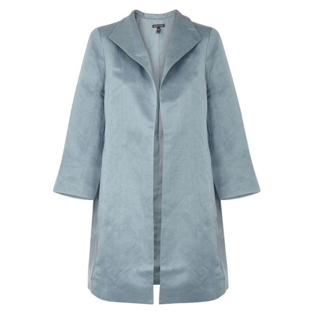 EILEEN FISHER Light Blue Linen-blend Jacket