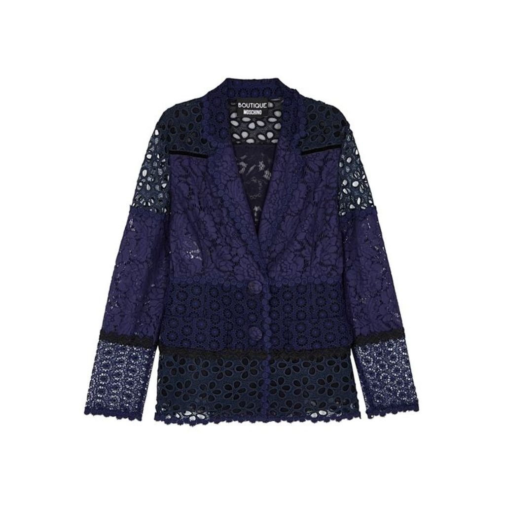 Boutique Moschino Navy Panelled Lace Jacket