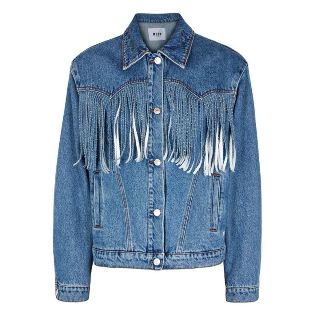 MSGM Blue Fringed Denim Jacket