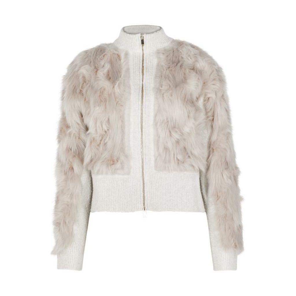 Stella McCartney Stone Faux Fur Bomber Jacket