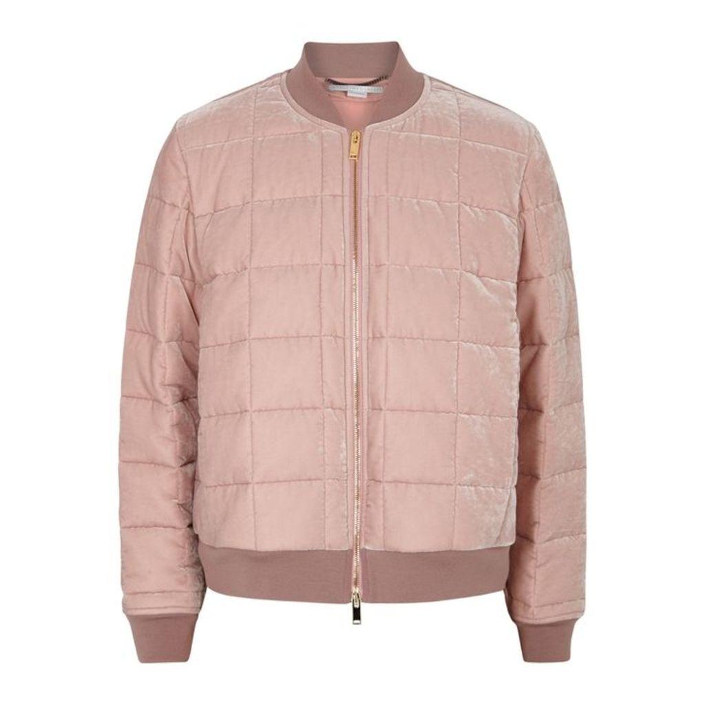 Stella McCartney Pale Pink Quilted Velvet Bomber Jacket