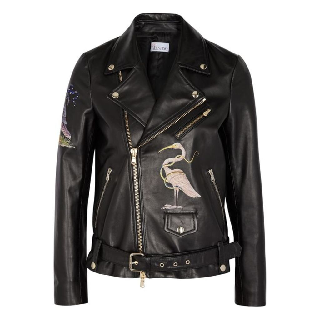 RED Valentino Black Printed Leather Jacket