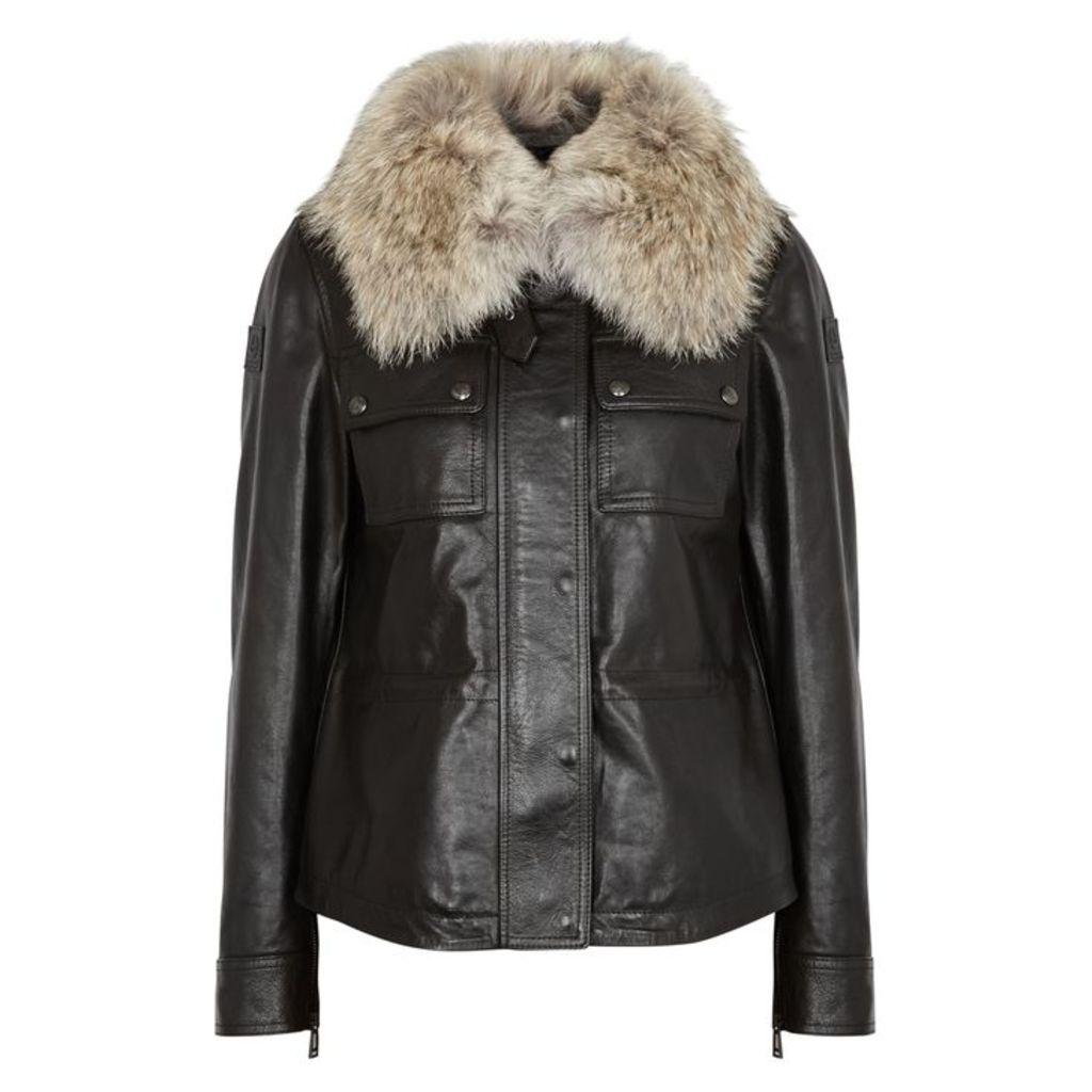 Belstaff Ocelot 2.0 Fur-trimmed Leather Jacket