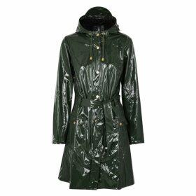 Rains Glossy Curve Patent Rubberised Raincoat