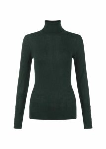 Lara Merino Wool Rib Roll Neck Khaki Green XL