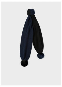 Women's Navy And Black Wool Knit Scarf