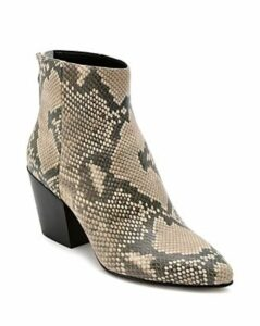 Dolce Vita Women's Coltyn Almond Toe Snakeskin-Embossed Leather Booties