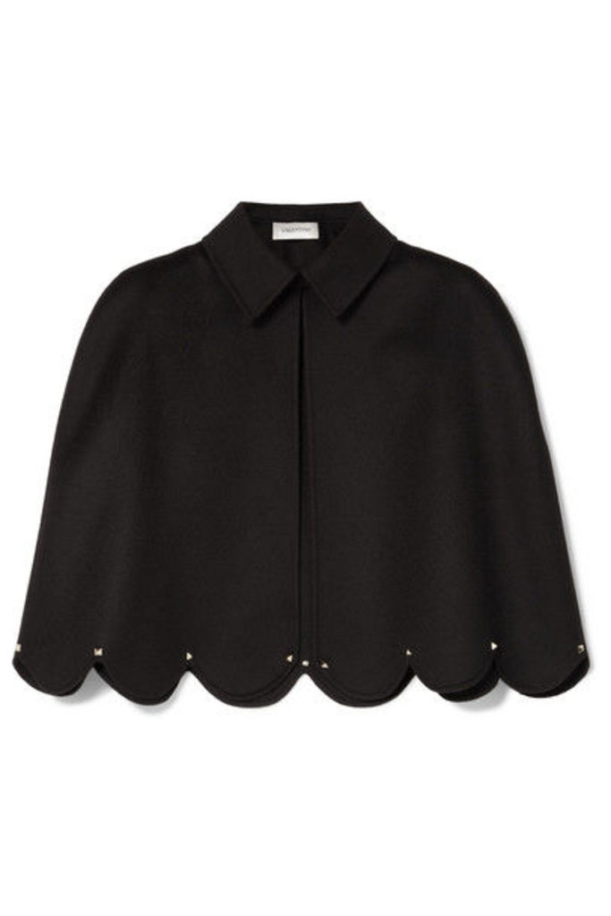 Valentino - Studded Scalloped Wool And Cashmere-blend Cape - Black