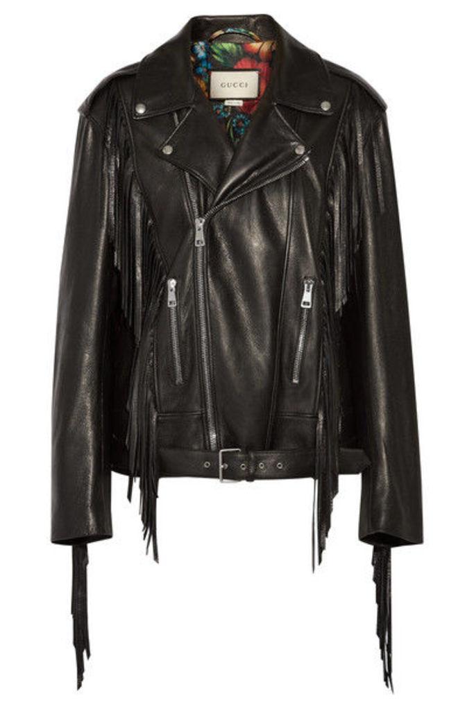 Gucci - Fringed Leather Biker Jacket - Black