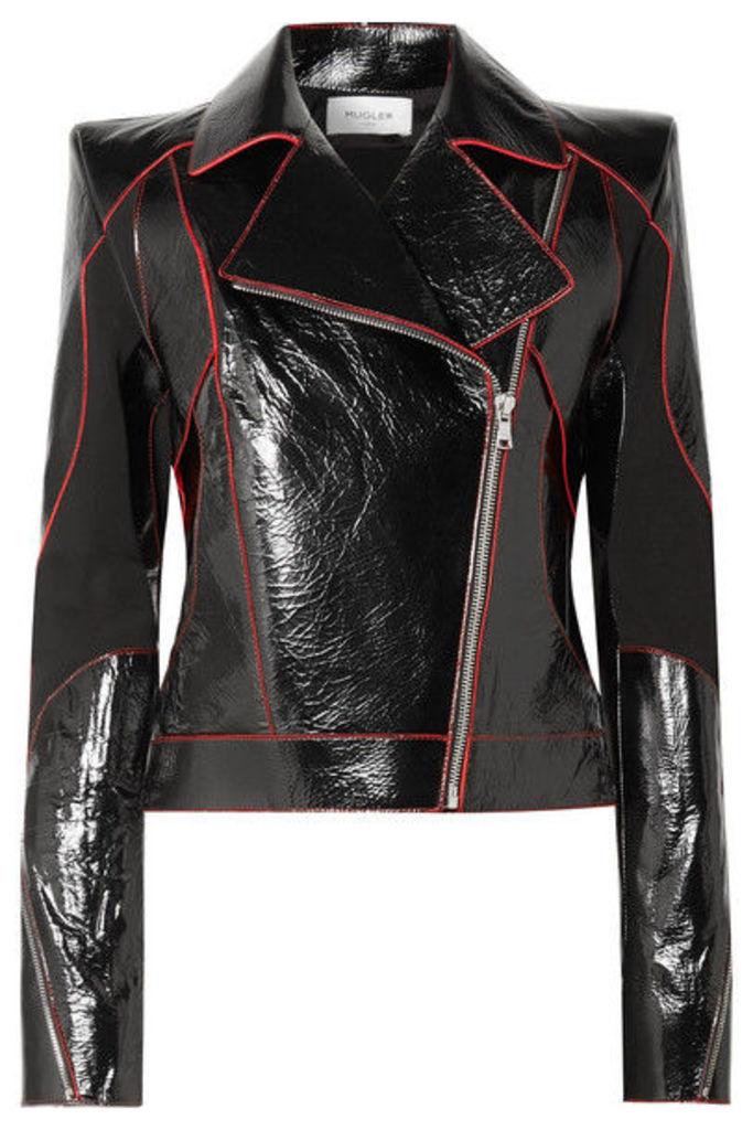 Mugler - Paneled Textured Patent-leather Biker Jacket - Black