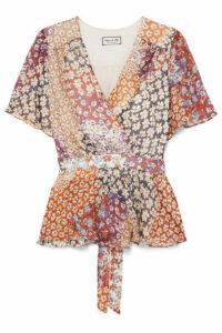 Paul & Joe - Wrap-effect Floral-print Silk-chiffon Top - Plum