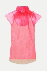 Prada - Bow-embellished Neon Silk-organza Top - Pink