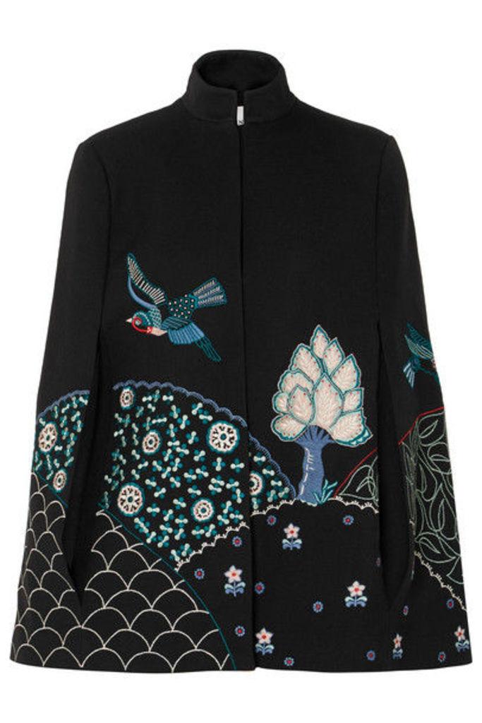 Vilshenko - Embroidered Twill Cape - Black