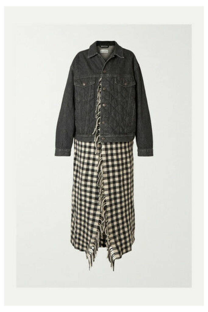 Balenciaga - Layered Quilted Denim And Fringed Gingham Wool Jacket - Black