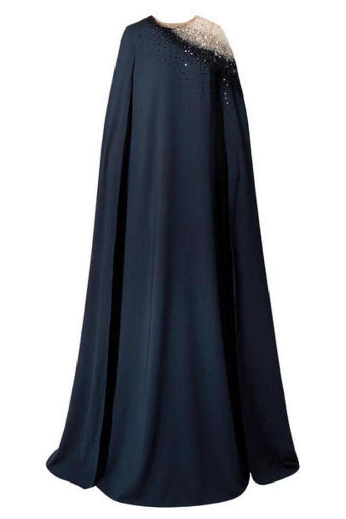 Oscar de la Renta - Cape-effect Embellished Tulle And Silk-blend Gown - Navy
