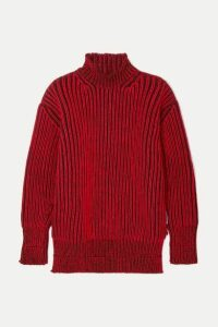 Balenciaga - Oversized Ribbed Wool Turtleneck Sweater - Red