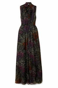 Co - Pussy-bow Floral-print Silk-chiffon Maxi Dress - Black